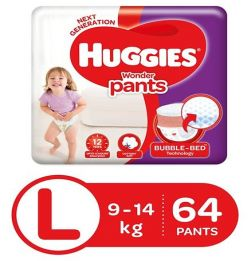 Huggies Wonder Pants Large Size Pant Style Diapers - 64 Pieces in bangalore