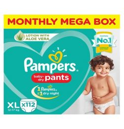 Pampers Pant Style XL Size Diapers Monthly Box Pack - 112 Pieces in bangalore