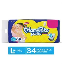MamyPoko Standard Pant Style Diapers Large - 34 Pieces in bangalore