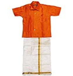 Boys Traditional Dhoti & Shirt SET-Orange in bangalore